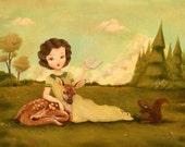 A Springtime Story Print 10x8 - Children's Art, Book Lover, Bookworm, Reading, Squirrel, Deer, Forest, Girl, Nursery, Cute, Kids, Woodland