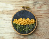 Yellow Flowers Embroidery Hoop Wall Decoration
