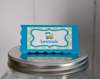 Train Theme Food Tents - Baby Shower Place Cards - Train Party Decorations Birthday or Shower in Aqua Blue and Green (6)