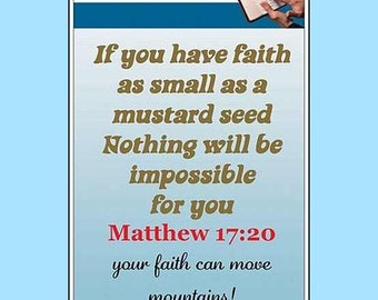 Christian Bible Bookmarks Mustard Seed Faith with Mustard Seeds and Scripture