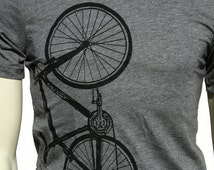 Bicycle. Soft Lightweight T Shirt. men's unisex Tee. Crew and V-neck. Bike. Cyclist. Gift for him and her. Sport.