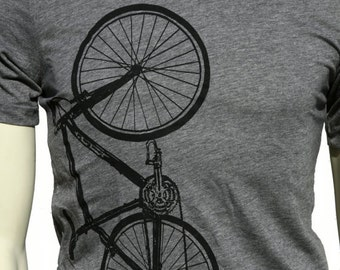 Bicycle| Soft Lightweight T Shirt| men's unisex Tee| Crew and V-neck| Bike| Cyclist| Gift for him and her| Sport.