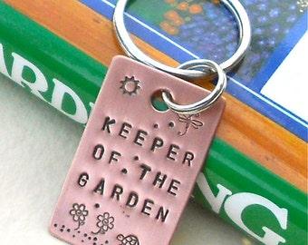 Gardener Keychain, Hand Stamped Copper, Keychain, Gift for Gardener, Garden, Accessories, Copper, Copper keychain, turtle, Dragonfly, sun