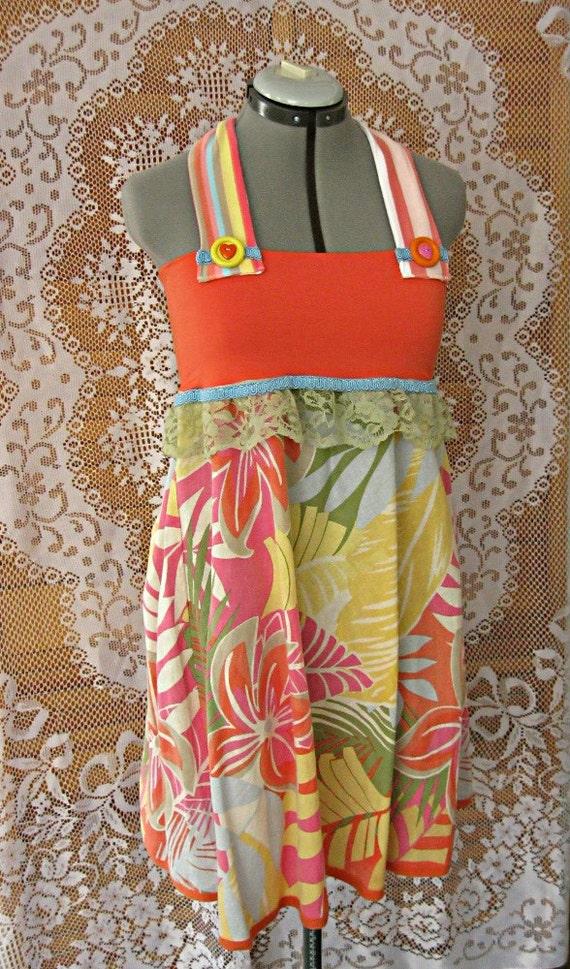 Halter dress, upcycled women's clothing, orange dress, floral sundress, summer party dress, beach dress, XS Small
