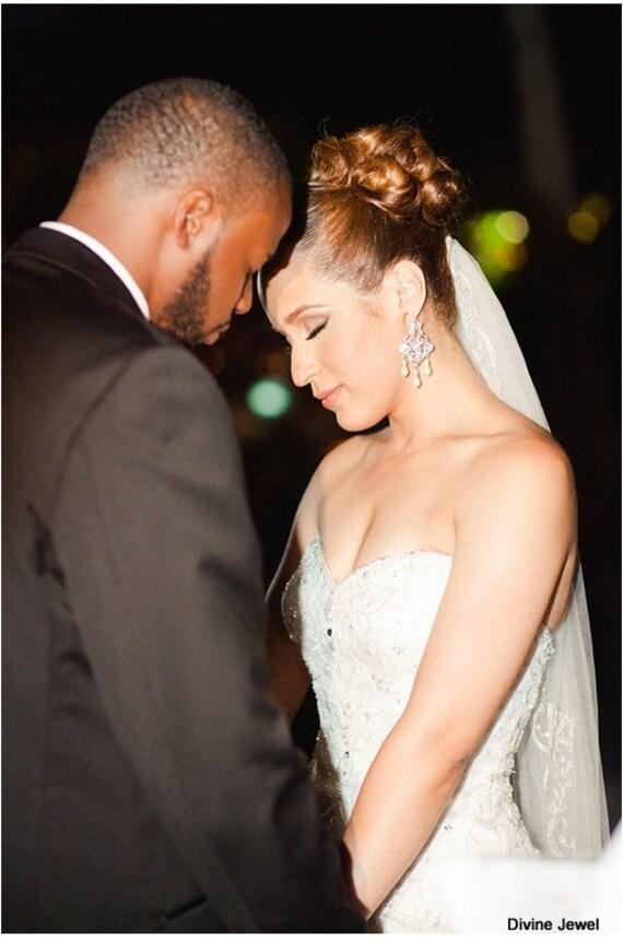Bridal Wedding Earrings Pearl Earrings Bridal Pearl Earrings Pearl and Rhinestone Earrings Bridal crystal Chandelier pearl Earrings ALEXA