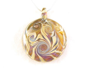 Jubilant Glass Purple Cream and Green Spiral Blown Glass Borosilicate Lampwork Reversible Pendant On Sterling Silver Necklace  Free Shipping