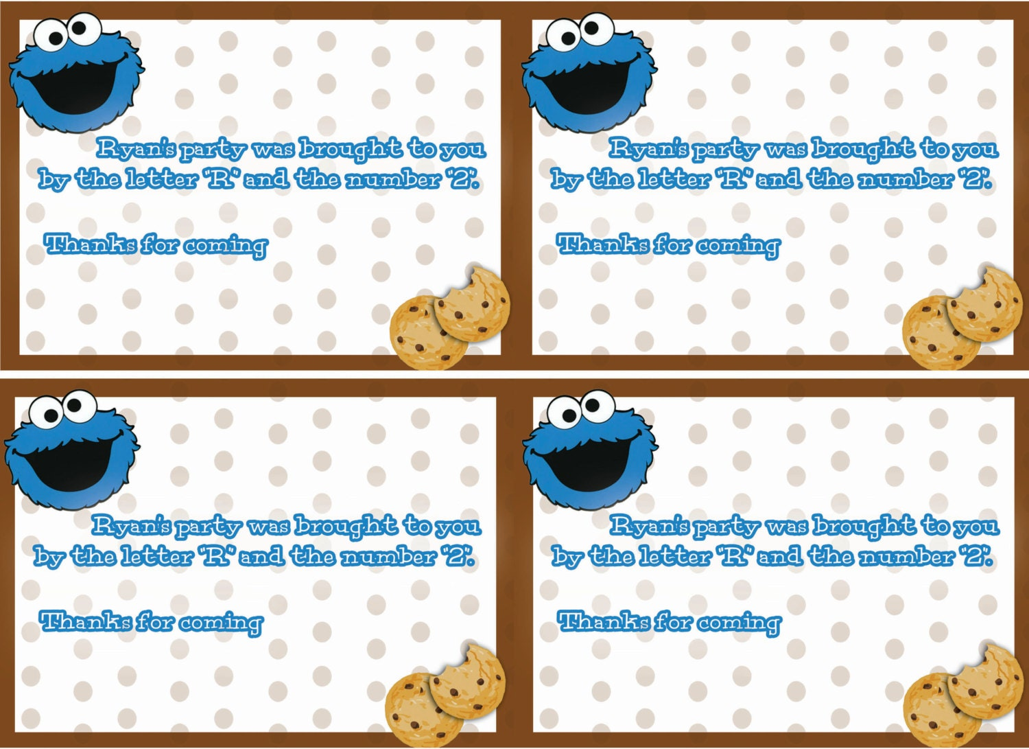 Cookie Monster Birthday Party Invitations – Cookie Monster Valentine Cards