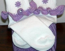 Toddler Size 3-8.5 Purple Flower Power on Purple Crocheted Ruffle Trim Socks - 2 to 3 Years