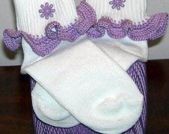 Toddler Size 3-8.5 Purple Flower Power on Purple Crocheted Ruffle Trim Socks - 2 to 3 Years