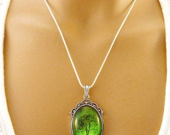Emerald Bewitched Wearable Art Cameo Necklace-gift for her.Christmas gift.tree necklace.Mother's Day gift.Valentine's gift