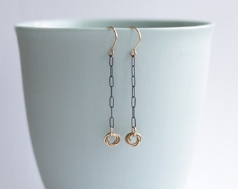 Love Knot Earrings, Mixed Metal, Silver and Gold Earrings, Valentines Day Gift for Her