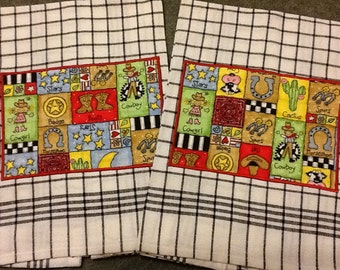 COWGIRL COWBOY COUNTRY Western Black and White Dish Towels Lots of Color Choices