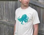 RESERVED for Priscilla. Octopus T-Shirt, Unbleached Organic Cotton, Sea Life T Shirt, Beach Wear Summer TShirt, Ocean Animal, Nautical