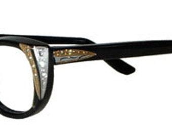 Vintage 1950s Eyeglasses Rhinestone Cat Eye Never Worn