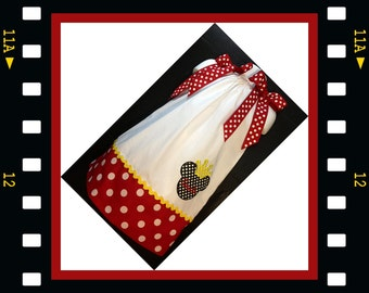 Custom Made Minnie Mouse DRESS Embroidered Applique NAME Inspired Red Polka dot SIZES 6M-6yrs white