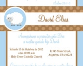 Baptism - Christening Invitation - Little Lamb -  Baby Boy - Baby Blue - Green- Brown -  DIY - First Communion