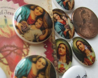 Western German Glass Religious Cabochon