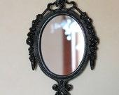 Vintage Framed Wall Mirror in Raven Black Frame