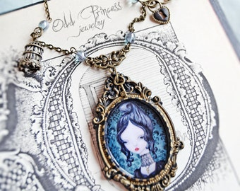 ON SALE!!! HENRIETTE Ooak Bohemian Romantic Victorian Cameo Necklace, Whimsical Jewelry, Wearable Art