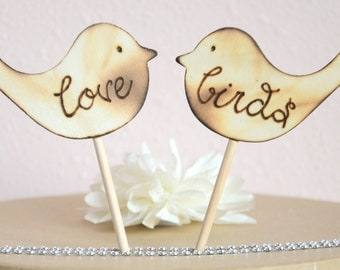 Love birds wedding cake topper- wooden love birds cake topper