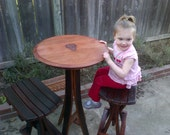 Three Piece Pub Table & Stools with inlaid grape carving (Made from 100% recycled oak wine barrels)