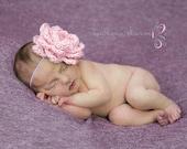 Pink Rose Headband, Baby Headband, Newborn Headband, Toddler Headband, Infant Headband, Baby Hair Accessory, Crochet Headband