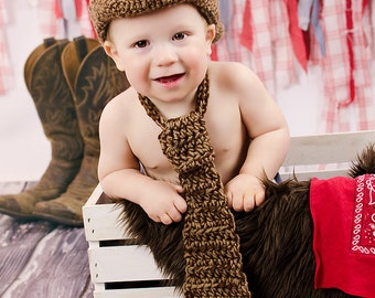 1st Birthday Boy Cowboy Birthday First Birthday Hat and Tie Country Western Birthday Party Outfit Baby Boy Brown Red