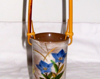 Asian Oriental Vase or Holder with Rattan or Bamboo Handle, Hand Painted