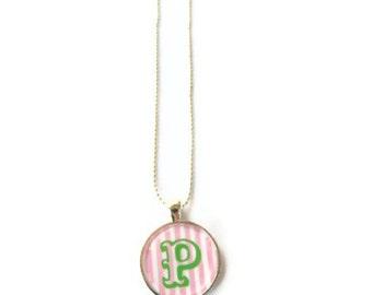 Monogram Necklace, Monogrammed gifts, Pink Green Preppy Monogram necklace, Back to school sale