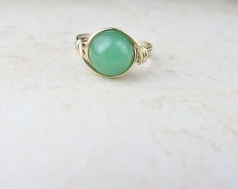 Green Aventurine Ring, Aventurine Gemstone Ring, 14k Gold Filled ring, Any Size