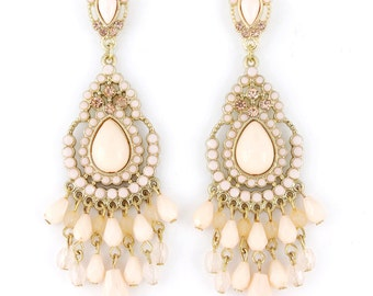 Exquisite Gold-tone Bohemia Feel Light Pink Beaded Long Drop Post Earrings D5