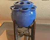 Vintage Ceramic Blue Flower Frog. Repurposed Wood Spool Easel. Cottage Decor .Flowers.