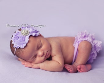 Baby Headband, Infant Headband, Newborn Headband , Lavender Headband, Shabby Chic Headband Lavender Headband, Purple Headband