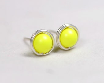 Neon Yellow Earrings Wire Wrapped Jewelry Handmade Sterling Silver Jewelry Handmade Neon Stud Earrings Neon Jewelry Swarovski Pearl Ear