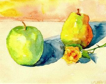 """Original watercolor still life fruit painting, pear and apple on Arches watercolor paper, greens, golds and tans, 9"""" x 12"""" Pear and Apple"""
