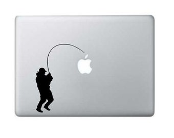 Fisherman Macbook Decal - Macbook Stickers - Macbook Decal - Mac Stickers - Macbook Pro Decal - Macbook Air Stickers