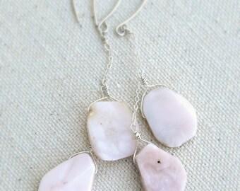dalliance... pink peruvian opal dangle earrings / sterling silver double drop / october birthstone