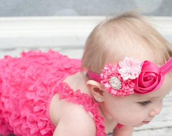Hot pink Baby Headband, Baby hair bow, flower headband, newborn headband, Satin Rosette headband, Baby girl Headbands, toddler headband