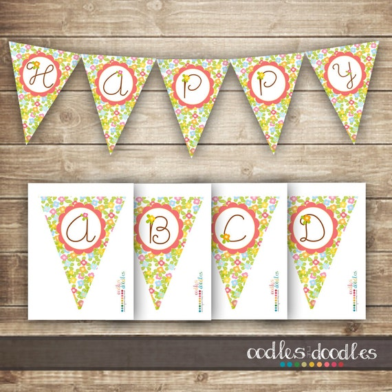 Design Your Own Banner: Floral Bunting Pennant Banner / Create Your Own Banner / A