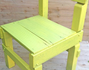 Upcycled solid wooden chair - made with recycled wood and painted bright yellow (pick up only)