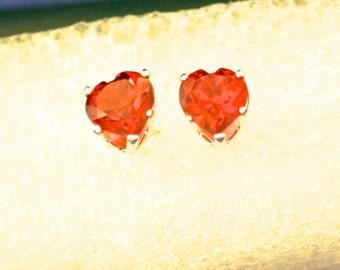 Garnet Heart Earrings, 6mm Heart Shape, Natural, Set in Sterling Silver    E305