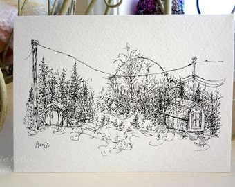 Wintery Sheds and Garden Art Print, Rustic, Shed, Barn, Rustic, Power Post, Garden Gift, Note Card, Art Collection,Ink Pen Drawing