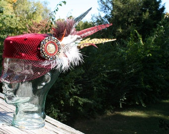 THE FROWICK - Burgandy Vingtage Pillbox Hat with Beautiful Handbeaded Medallion and Colorful Feathers