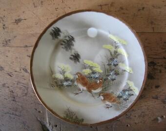 2 antique hand painted Japanese Meiji period Kutani plates