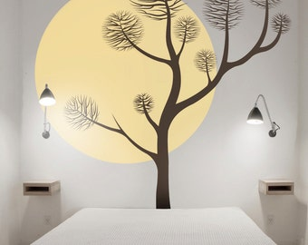 Tree wall decal - Pine tree wall decal - Large Tree Wall Sticker, 001