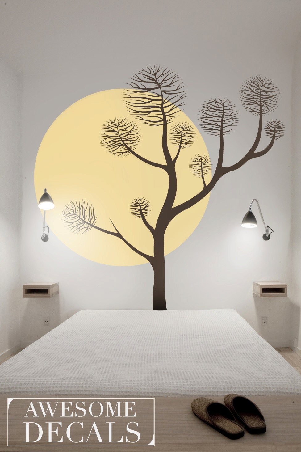 Pine Tree Wall Decal Large Wall Decals Bedroom Wall Decal