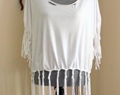 Hipster #White #Braided #Shredded fringed #T-shirt hipster #hippie 60's bohemian size 2x