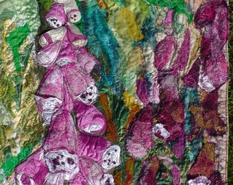 SOLD.  Commission only. Please contact me. Foxgloves.Pink and green. Fabric wall hanging. Art. Embroidery..