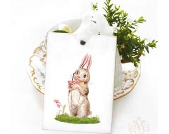 Rabbit gift tags, Easter bunny, bunny rabbit, Easter gift tags, white rabbit, tea cup, cute bunny tags, holiday tags