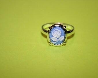 Tiny Light Blue Rose Cameo Ring